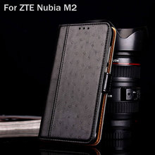 for ZTE Nubia M2 case Luxury Ostrich Leather with Stand fashion hit color phone Cases for ZTE Nubia M2 funda Flip cover coque