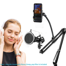 Ituf Adjustable Recording Microphone Suspension Boom Scissor Arm Stand+Mic Wind Pop Filter+Shock Mount+Phone Holder Black ps 2 double layer studio microphone mic wind screen pop filter swivel mount mask shied for speaking recording stand
