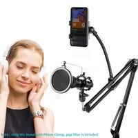 Ituf Adjustable Recording Microphone Suspension Boom Scissor Arm Stand+Mic Wind Pop Filter+Shock Mount+Phone Holder Black