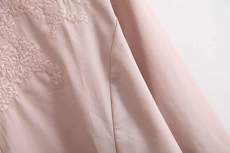 C1 Frühling Casual Blusen 6XL Plus Größe Frauen Kleidung Mode Langarm Stickerei stehkragen Lose Hemd yf8025