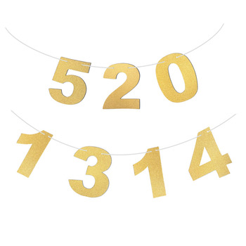 1Pc Multi-use Sparkly Glitter Gold Paper Number Alphabet Banners Garlands Hanging With String Birthday Party Backdrop Decoration number