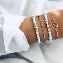4 Pcs/set Bohemian Fashion Golden Turtle Hollow Tree of Life Tiny Bohe Beaded Bracelet Set Women Retro Beach Jewelry Accessories