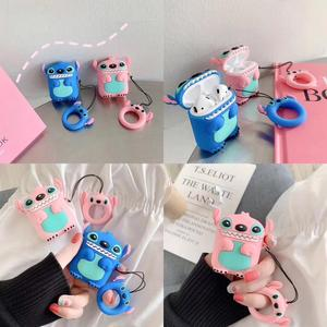Stitch Bluetooth Headphone Case For Apple Airpods 2 Case Silicone Case For Airpods Case With Keychain Cover For Air Pods Etui(China)