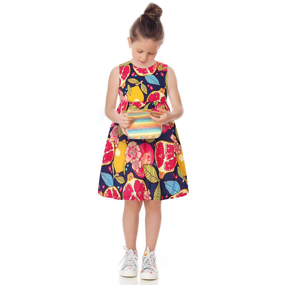 Princess Girl Dress Summer 2017 Brand Toddler Girls Clothes Kids Dress Fruit Print Costumes Robe Fillette Children Clothing new girls dress brand summer clothes ice cream print costumes sleeveless kids clothing cute children vest dress princess dress
