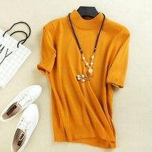 2019 Womens Cashmere Turtleneck Short Sleeve Knitted Sweater Tee Base T Wool Brand Women Rider sweater