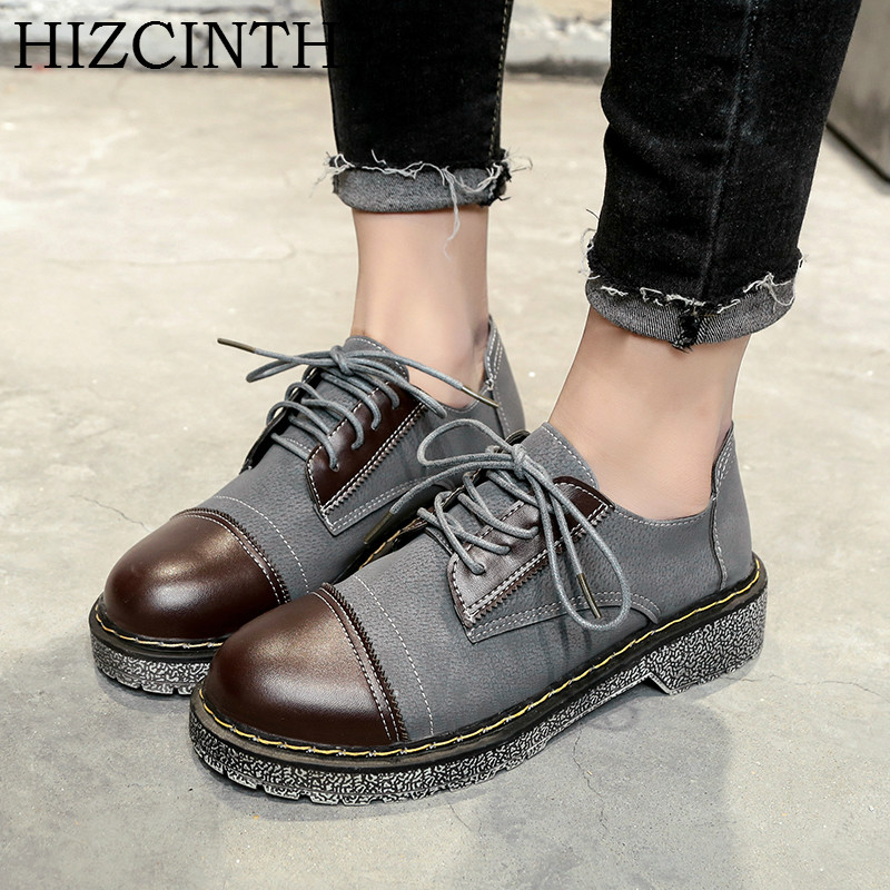 HIZCINTH British Wind 2018 Spring Brand Flats Shoes Woman College Students Leather Casual Loafers Female Single Flat Shoes Mujer hevxm 2017 spring korean ladies fashion round head flat pu ordinary shoes female students british wind shoes