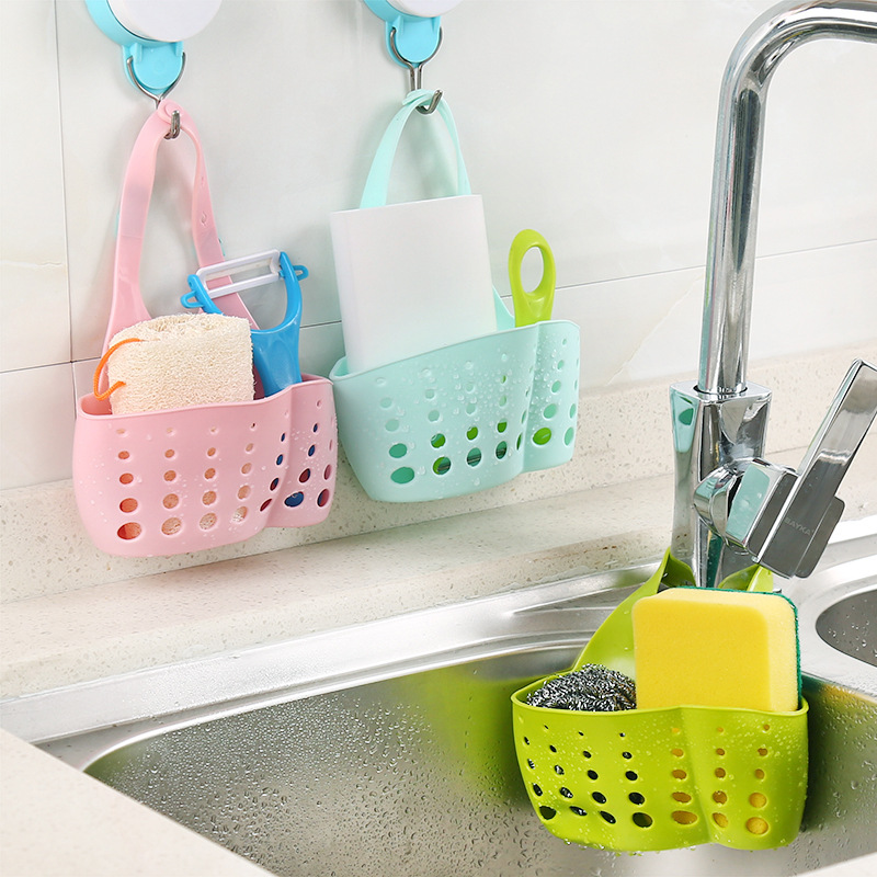 The Kitchen Sink Hang Bag Adjustable Buckle Basket Type Plastic Drop Faucet Sponge Sundry Receive Basket