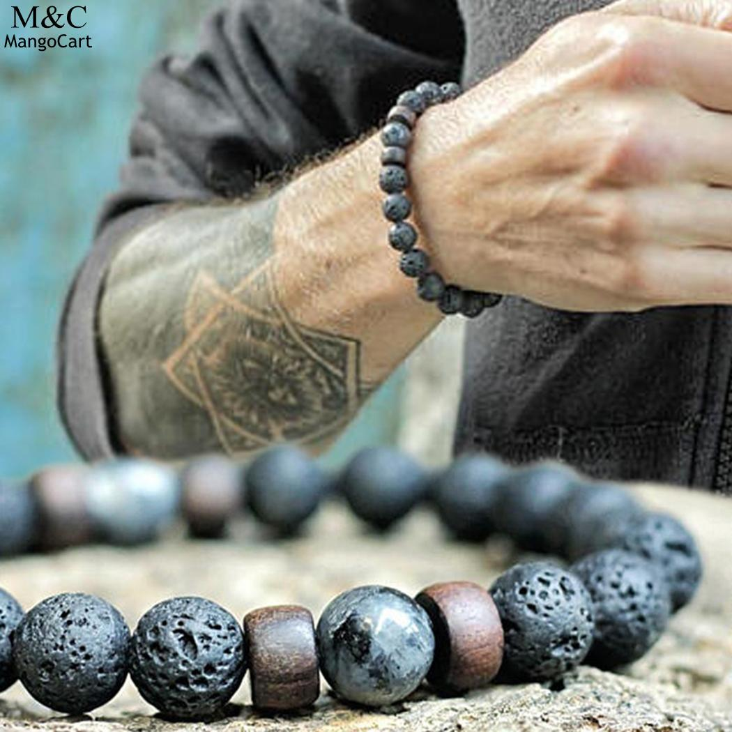 FANALA Natural Lava Rock Stone Beads Strand Bracelet Wooden bead Accessories Black Rock Stone Men/Women Jewelry Gift