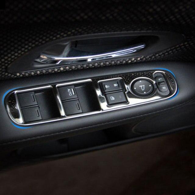 4 개/대 스테인레스 스틸 자동차 인테리어 창 기중 장치 패널 스티커 혼다 HRV HR V VezeL LHD 2014 2015 2016
