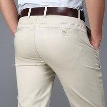 Новинка, Брендовые повседневные мужские брюки, весна-лето, тонкие стильные хлопковые прямые длинные брюки размера плюс 29-38, одноцветные мужские брюки