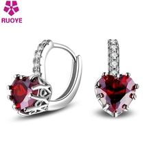 RUOYE Fashion Red White Crystal Stud Earring Heart Earring For Women Quality Silver Gold Color Jewelry 2017 New Arrivals