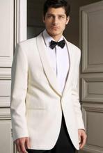 2018 White Groom Tuxedos Men Wedding Suits Lapel Jacket One Button Groomsmen