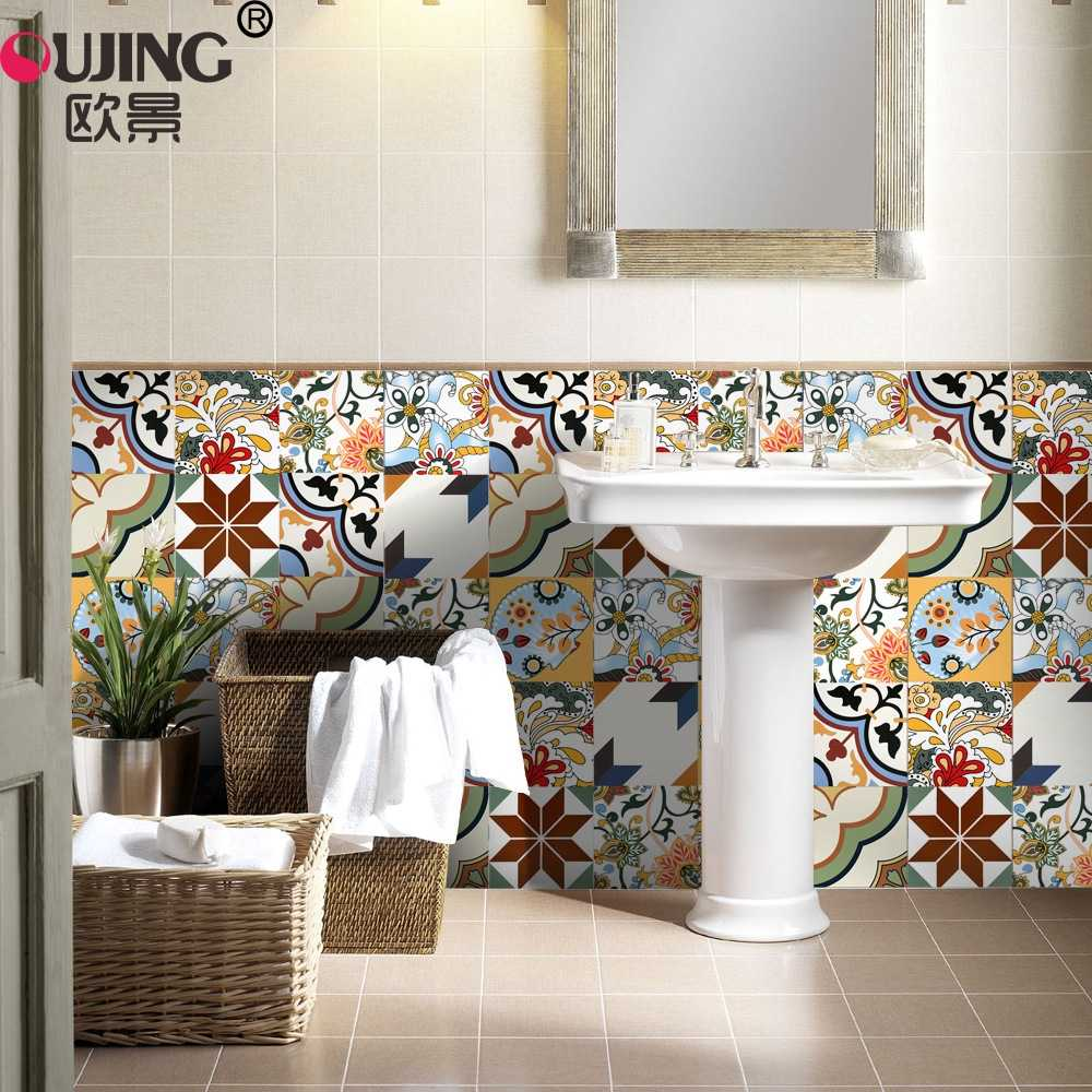 20*100cm*5pcs 3D Flowers Pattern Retro Tiles Wall Sticker Kitchen Bathroom Poster Self-adhesive Floor Glass Art Mural Wallpaper