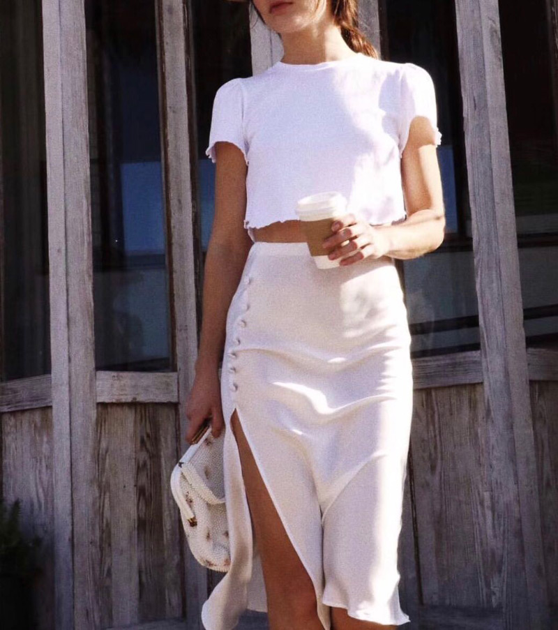 100 Silk Stain Women High Waisted Elastic Waist Side Slit Bassette Skirt 2019 Bopstyle New Fashion