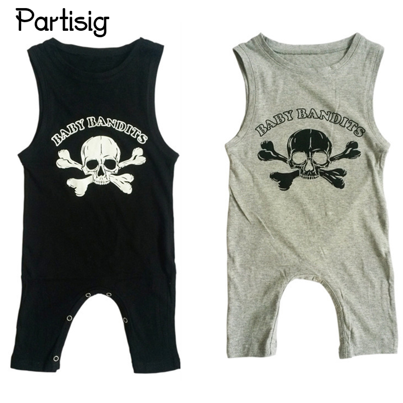 2017 Summer Baby Clothes Cotton Skull Sleeveless Baby Boy Romper Black Infantil Overall Baby Boy Clothes