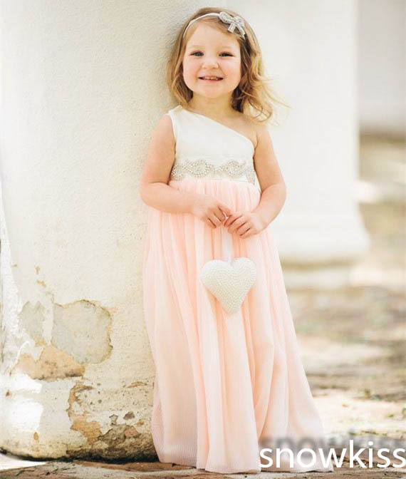 Cute white and pink long one shoulder beading flower girl dresses beautiful sleeveless A-line wedding birthday party gowns new white ivory nice spaghetti straps sequined knee length a line flower girl dress beautiful square collar birthday party gowns