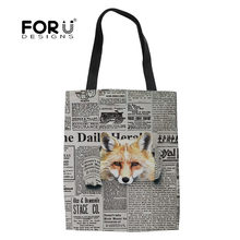 FORUDESIGNS Reusable Shopping Bag Funny Fox Printing Women Portable Folding Grocery Canvas Shoulder Tote Eco Storage Custom made(China)