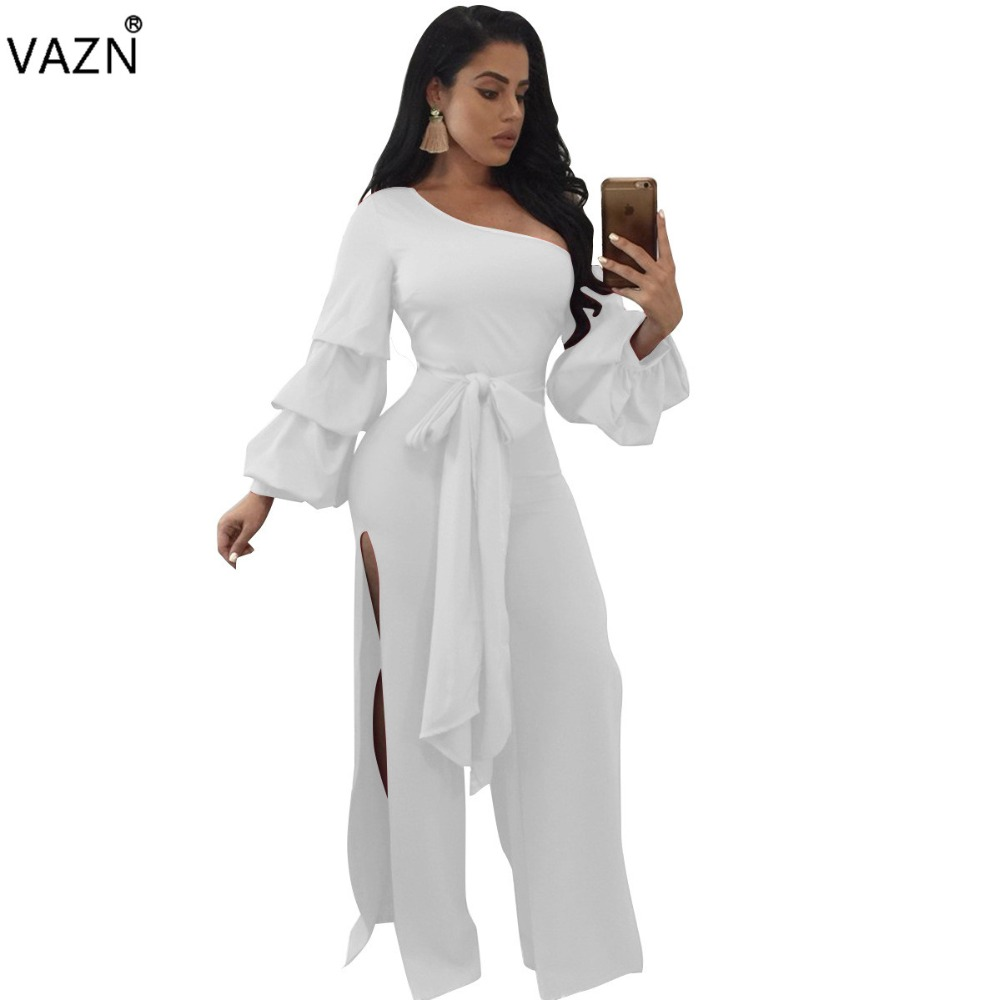 78bebb3de68 VAZN 2017 Solid Long Jumpsuit Sexy Summer Bodycon One Shoulder Women Petal  Sleeve Jumpsuits Fashion Night Club Rompers J7488K-in Jumpsuits from Women s  ...
