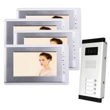 ENVÍO LIBRE A Estrenar de 7 pulgadas Teléfono Video de La Puerta Sistema de Intercomunicación 4 Monitor de 1 HD Timbre Cámara para 2 Apartamento Del Hogar Al Por Mayor