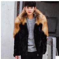Jmprobe S/4Xl Mens Imitation Fur Jacket Hooded Patchwork Casual Male Winter Autumn Fur Overcoats Large Size Fur Outwears K495