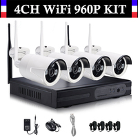 4CH Wireless Wifi 960P CCTV System 4 Channel NVR 4PCS 960P IP Camera Real Plug And