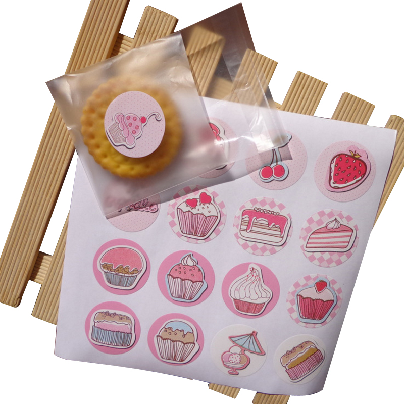 160pcs/lot Lovely Cup Cake Cake Packaging Sealing Label Sticker Adhesive Gift For Children