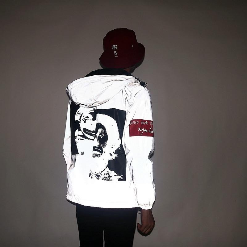 New men's autumn Men /women windbreaker reflective jacket casual hip hop hooded coat streetwear night shiny harajuku jackets 5XL 3
