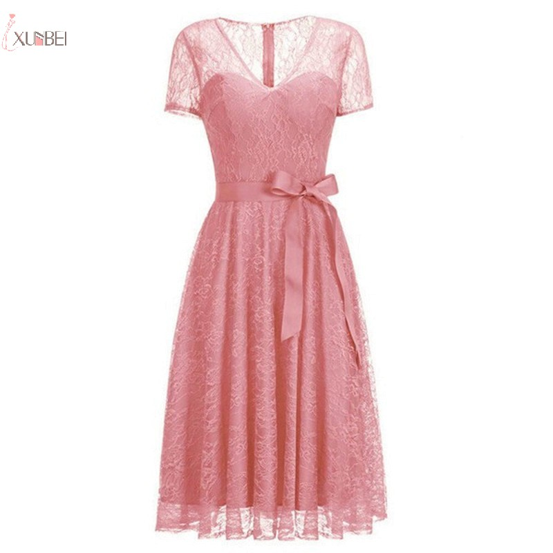 2019 Stock Cheap Sexy Pink Lace Short   Prom     Dresses   V Neck Sleeve   Prom   Gown Vestidos de gala
