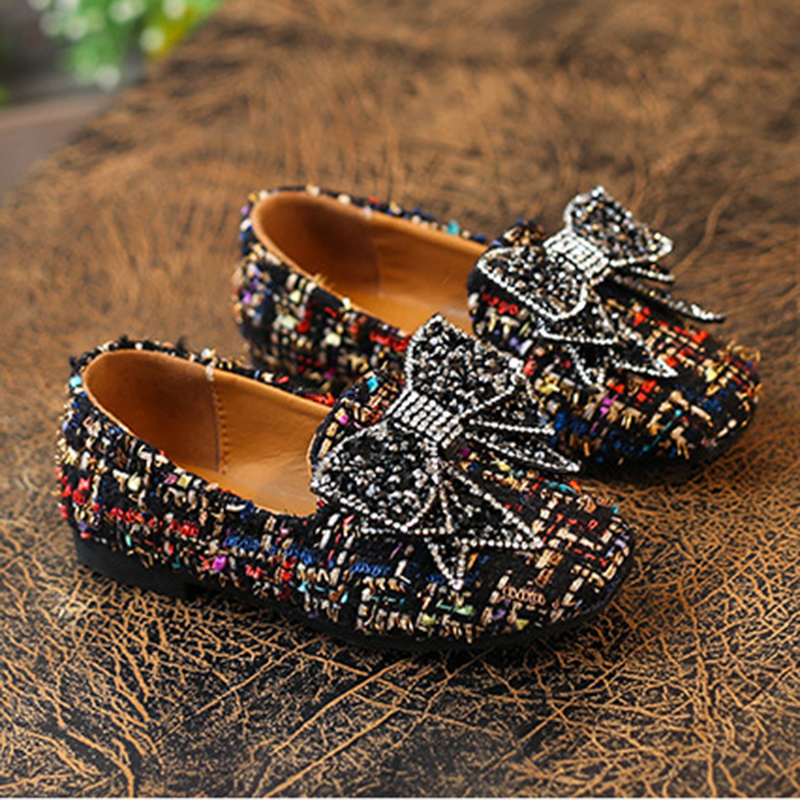 JUFOYU Princess Shoes 2018 Spring New Childrens Princess Shoes Girls Soft Bottom Bow Shoes Children Breathable Dance Shoes