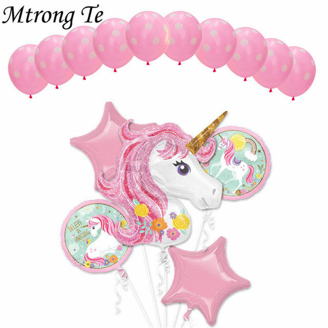 15pcs Unicorn Theme balloons 18 inch star Round foil Balloon Birthday Party Decor Kids Rainbow Balloons Unicorn Party Supplies