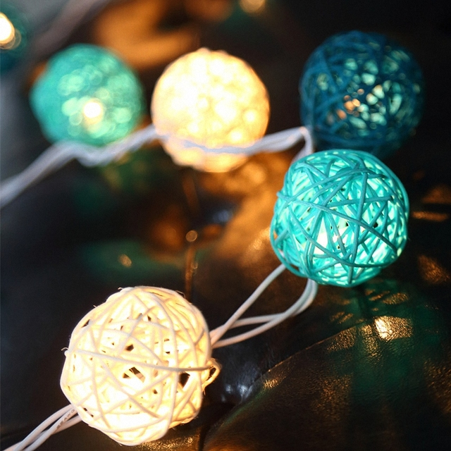 Christmas Tree ornament Turquoise Rattan Ball String Lights     Christmas Tree ornament Turquoise Rattan Ball String Lights electricity  Glitter Graft Indoor cane Balloon Bulbs Bar