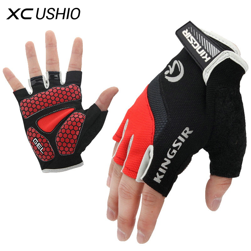 1 Pair Outdoor Sport Gloves Summer Cycling Bike Bicycle Riding Gym Fitness Half Finger Gloves Shockproof Mittens S/M/L/XL/XXL qepae 043a outdoor cycling half finger gloves black red l pair