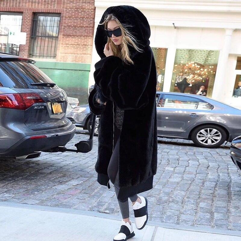 Tendencia Setter 2018 nuevo abrigo de piel de Invierno para mujer cálido imitación de piel de conejo con capucha Parka negro-in Parkas from Ropa de mujer    1