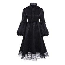 Vintacy Gothic Schwarz Kleid Frauen Solide Eine Linie Spitze Vintage Party  Kleider Laternehülse Herbst Winter Langarm Retro Klei. f6a244853d