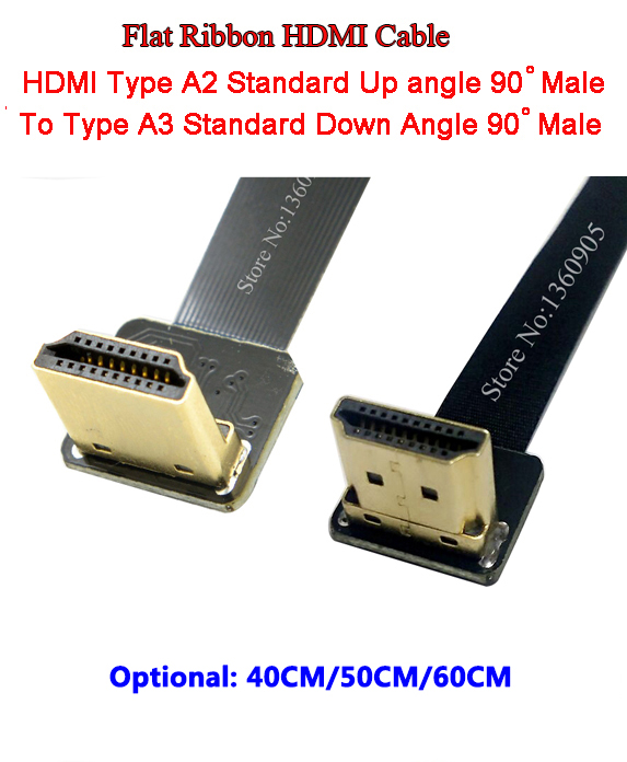 40CM/50CM/60CM Flat Ribbon Cable Soft Flex HDMI Cable Up Angle Standard Type A2 Male To A3 Male HDMI Standard Down Angle