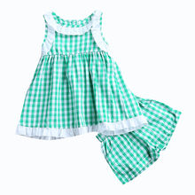 2017 New Summer Toddler Infant Cute Kids Baby Girls Plaid Tops Dress Shorts 2Pcs Outfits Set Clothes 1-6Y