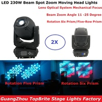 2Pcs/Lot Newest 230W LED Beam Spot Wash Moving Head Lights Plus Zoom Features 6/18 Channsle DMX Dj Stage Disco Party Lights