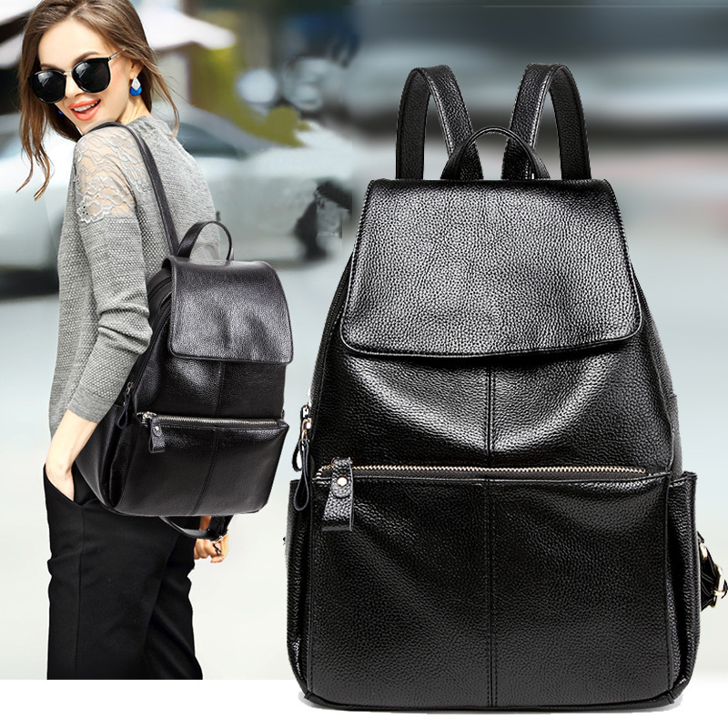 Concise Both Shoulders Package Woman Korean Fashion Woman Package 2018 Trend Joker Student A Bag Leisure Time Travelling Bag