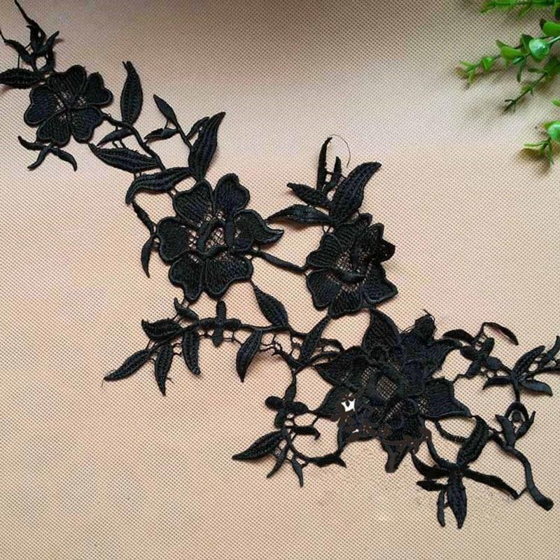10 ks Black černá bílá krajka Applique Headwear Flower Lady Motif Venise Čipka Trim Svatební šaty Oděvní doplňky