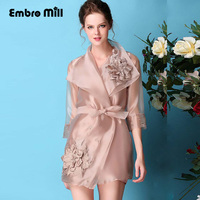 Women's embroidered organza women dress spring and summer new three quarter sleeve vintage ethnic embroidery dress S 4XL