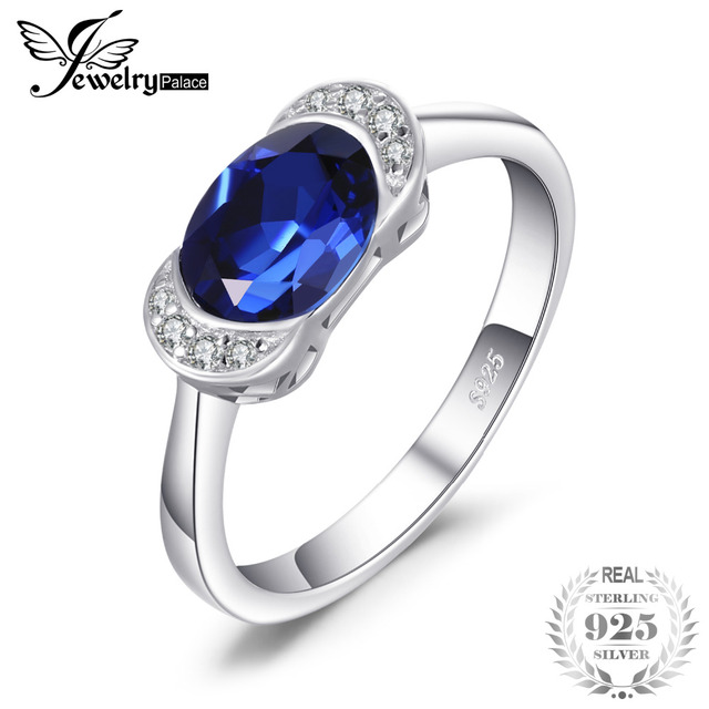 JewelryPalace Anniversary 2.3ct Created Sapphire 3 Stone Ring 925 Sterling Silver 68yBoZXjM