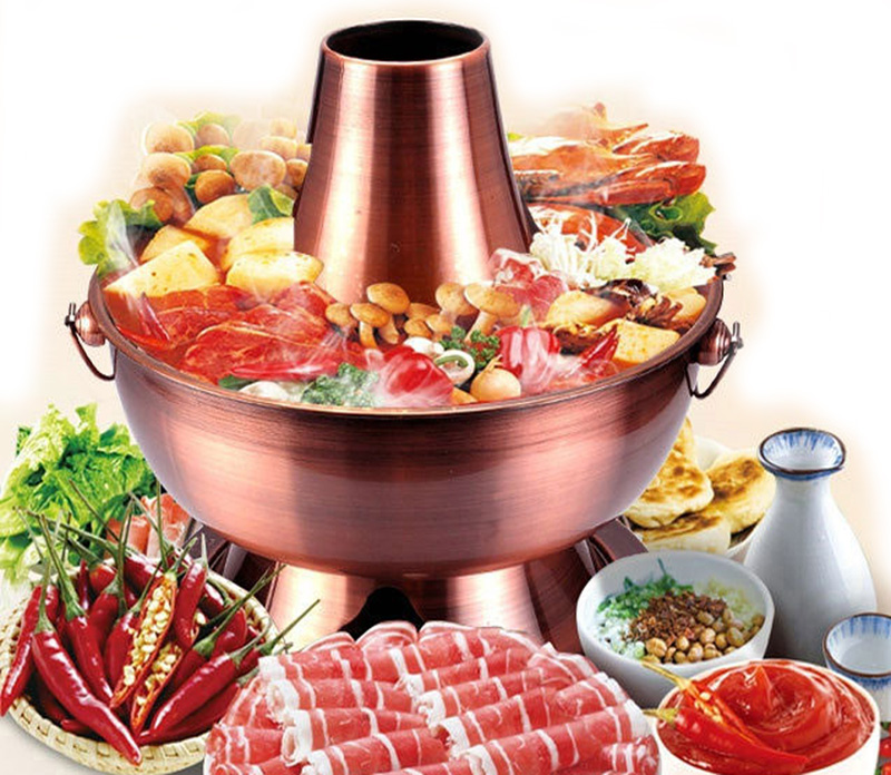 Utensilios De Cocina Hot Sale Metal Steamer Pot 2018 New High Quality Copper Stainless Hot Pot Cooker Chinese Fondue Cookware