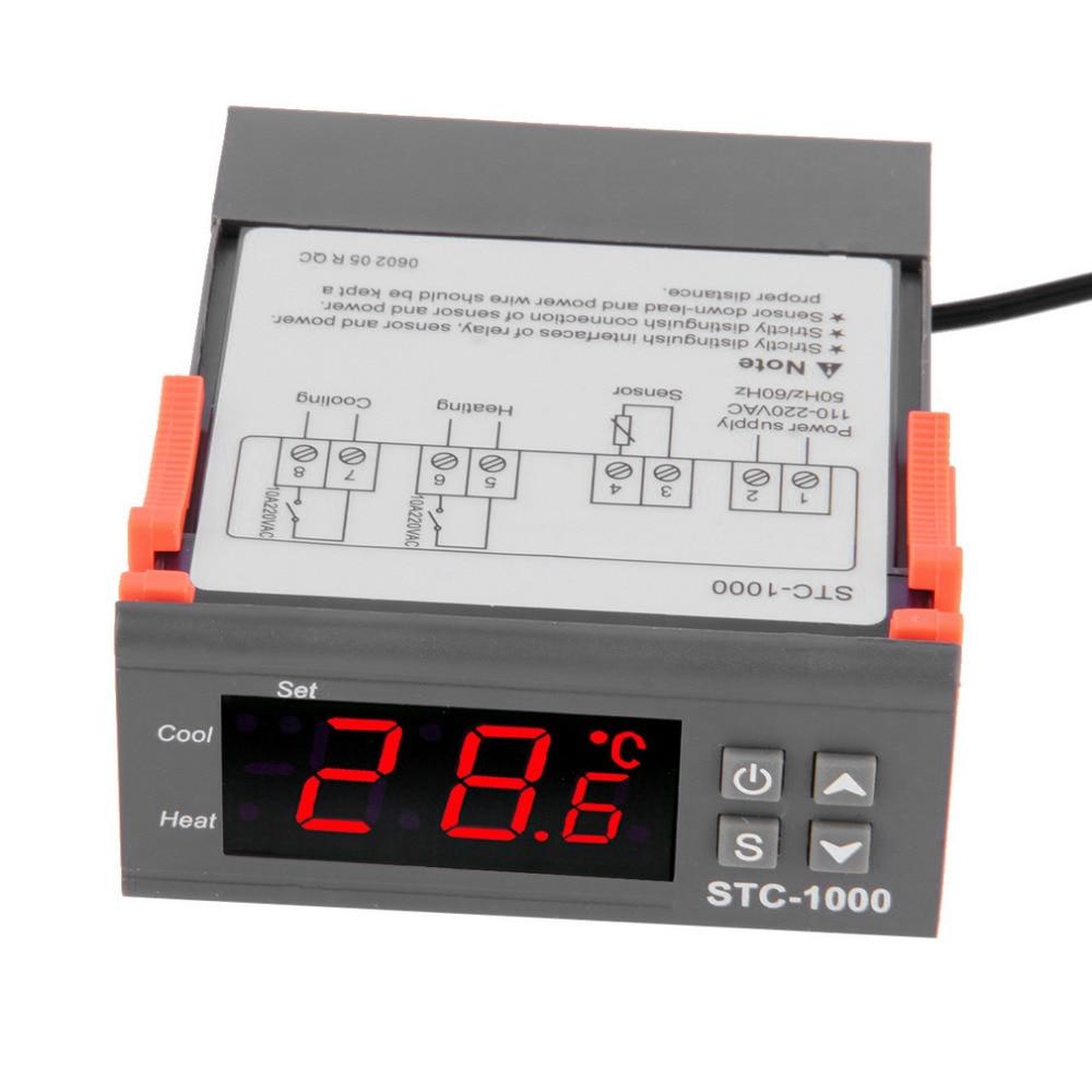 4 - 6.9 Display Temperature Controller 1 M Cable Thermostat Aquarium STC1000 Incubator Cold Chain Temp Laboratories Temperature