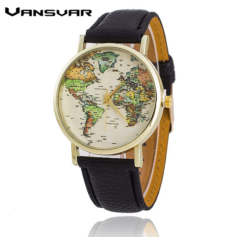 Vansvar Leather Strap World Map Watch Fashion Women Quartz Watch Mapa Reloj Mujer Relogio Feminino BW1574 miler vintage fashion watch women retro leather strap world map casual quartz wristwatch ladies creative clock relogio feminino