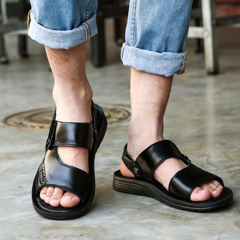 New 2018 Man sandals flat summer shoes genuine leather beach shoes casual slippers men sandals for the seaside size 38-47