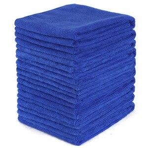 Image 1 - Голубое полотенце из микрофибры для чистки 10 шт, мягкая ткань для мытья, полотенце для мытья, 30*30 см, полотенца для чистки автомобиля и дома, микроволокно