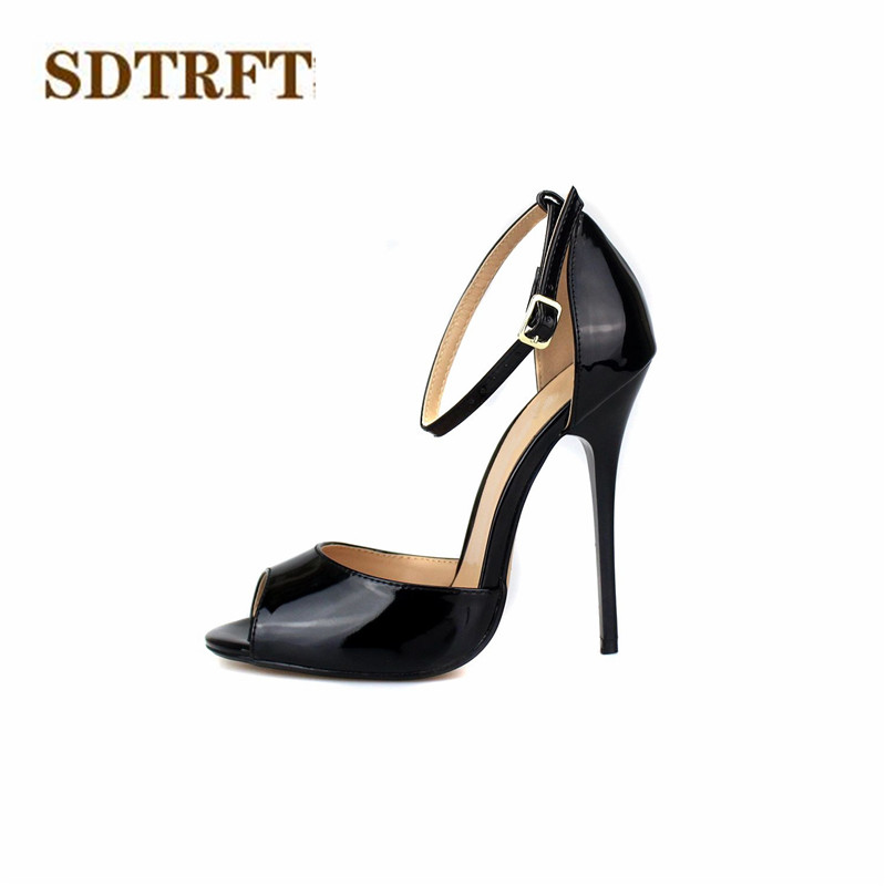 SDTRFT Plus Size:45 46 47 48 49 50 Women Party Sandals 2018 Summer 13cm thin High Heels Mujer Dress Shoes Peep Toe Buckle pumps cdts summer 14cm ultra high thin heels wedding shoes sexy pumps peep toe buckle gold bottoms sandals plus 44 45 46 47 48 49 50