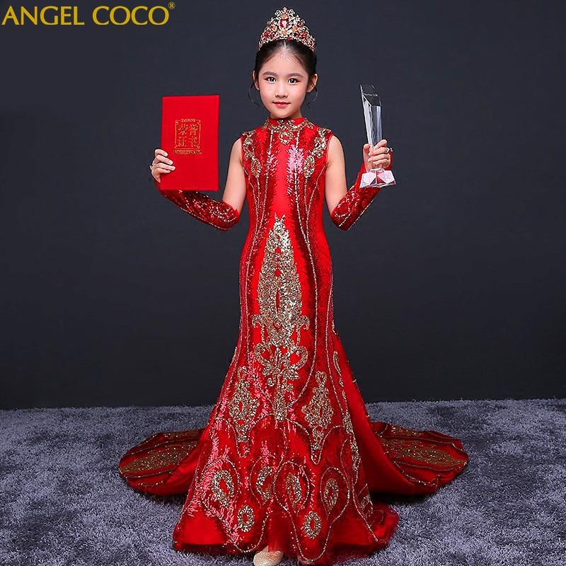 bf8cc128c9a Girls Evening Dress Children s Cheongsam Model Show Pianist Beauty Pageant Costume  Sequins Princess Dress Birthday Dance Wear -in Dresses from Mother   Kids  ...