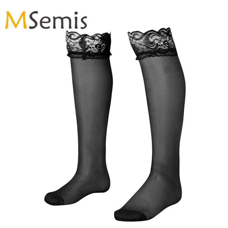 1 Paar Herren Strümpfe Oberschenkel Hohe Sissy Socken Weiche Mesh Sehen Durch Sheer Floral Spitze Mit Doppel Silikon Streifen Top Anti-slip