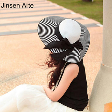 Korean Style 2017 New Summer Women's Foldable Wide Large Brim Floppy Beach Hats Striped Sun Straw Hat Female Outdoor Cap 0996